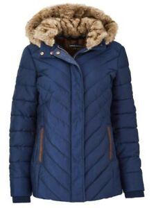 Ladies Navy detachable hooded Faux-Fur Trim Padded Coat