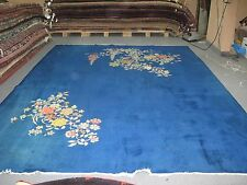 Vintage 1940's Blue Blossoms Art Deco Chinese Rug Hand Knotted Wool 8'9 x11'6