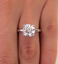 2 Ct Round Diamond Engagement Ring 14K Solid White Gold Solitaire Rings Size N