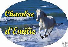 PLAQUE DE PORTE OVALE RIGIDE CHEVAL REF121 personnalisée  prénom CHAMBRE