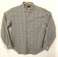 Truzzi Tailored Vintage Mens Pink Green Plaid Button Up Shirt Large