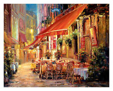 Cafe in Light Haixia Liu Landscape Cafes Europe Cityscapes Print Poster 30x24