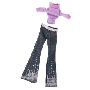 Doll Clothes Suits Purple Top and Flared Pants for 1/6  Dolls