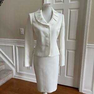 KASPER Women 2PC Ivory Metallic Shawl Collar Polyester Lined Skirt Suit Size 6P