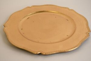 Gold Painted Plastic 12.5 Inch Platter Charger Plate W/Scalloped Rim Décor Only