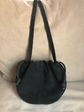 Urban Outfitters Women's Callie Handbag Purse Black Suede Drawstring Saddle Bag
