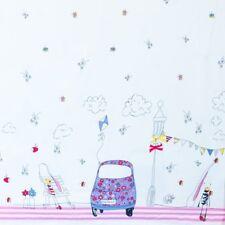 Stoff Jersey Bedruckt Bordüre Schmetterling Panel Baumwolle weiß blau rosa 12€/m