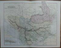 Antique map of European Turkey - 19th century Victorian colour map print