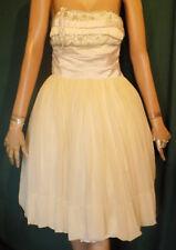 Vintage 40's Strapless Prom Dress Chiffon Full Skirt Beads Rhinestones B36