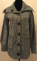 Jones New York Signature Womens Cardigan Sweatercoat Small Black Lambswool Blend
