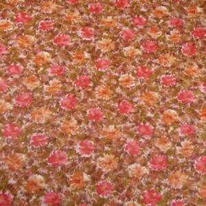 "36"" W Vintage Cotton, Red, Orange & Brown Floral, Per 1/2 Yd"