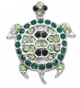 Silver Green Rhinestone Turtle 12mm Mini Petite Snap Charm for Ginger Snaps