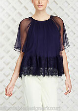 Marchesa Voyage Micro Pleated Top in Navy, Sz 6 Retail $365