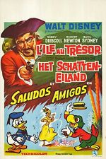 TREASURE ISLAND/SALUDOS AMIGOS origDISNEY movie poster ROBERT NEWTON/DONALD DUCK