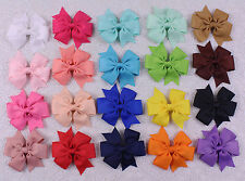 "Wholesale 20pc 3""  Baby Girl solid Grosgrain Ribbon Hair Bows Clip 2749-2768-A"