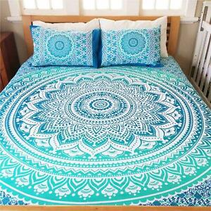 Ombre Indian Mandala Bed Sheet With Pillow Set Cotton Tapestry Hippie Bedspread