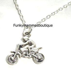 "MENS / BOYS JEWELLERY MOTORBIKE RACER CHARM NECKLACE 18"" SILVER CHAIN BIKER"