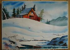 William Scarlott, LISTED Ventura CA artist, Snowy Cabin in Winter Landscape WOW!