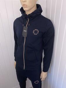 Hugo Boss Full Tracksuit Mens Navy Cube Logo Jacket&pants XLarge BNWT £119