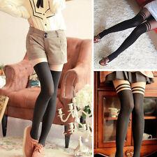 Damen Streifen Muster über das Knie Strumpfhosen Socken Strumpfhose Strümpfe ~