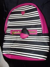 Betsy Johnson Black & White Strip Hot Pink Backpack w/Zipper Pocket & Keychain