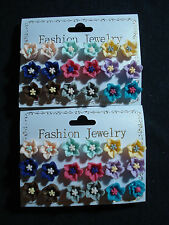 stock 18 mini orecchini fiori colori misti espositore micro bigiotteria ingrosso