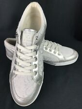 Guess Women 11 Fashion Sneaker Silver Logo Signature Print Laces