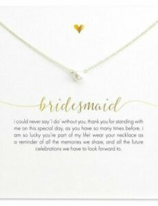 'BRIDESMAID' FAUX PEARL necklace. PACKAGED CARD perfect gift. Aussie Seller