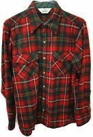 Woolrich Shirt Red Green Plaid Button Down Long Sleeve Thick Wool Mens Medium M
