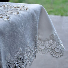 Lace Table Topper / Table Cloth White Polyester Satin Jacquard Saqure 85 x 85 cm