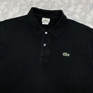 Men's Lacoste Logo Designer Polo Shirt Black Size X Large
