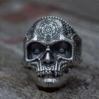 316L Stainless Steel Sugar Skull Ring Mens Mandala Flower Punk Biker Jewelry