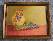VINTAGE PURPLE GRAPES LEAVES ANTIQUE GRANDMOTHER VASE STILL LIFE FRAMED PAINTING
