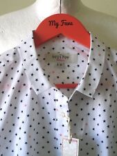 SAVILE ROW WOMAN SHIRT BLOUSE Top White Stars Black Cotton Sz 12 BNWT