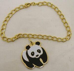 """Gold Tone 7"""" Bracelet with Ty Beanie Baby Panda Bear Charm"""
