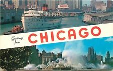 Chicago Banner Greetings~North American Ship~Fountains~1950s Berka Postcard