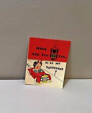 Vtg Valentine Card Red Convertible Pedal Car Traffic Light 40's 50's