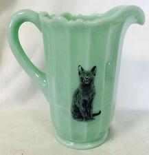 Jade Jadite Jadeite Milk Green Glass Large Paneled Pitcher w/ Black Cat