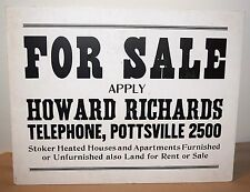 POTTSVILLE, PA HOWARD RICHARDS FOR SALE SIGN 1940's - 1950's