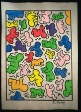 Keith Haring watercolor drawing on paper signed & stamped hand carved