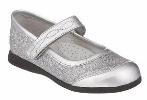 Silver Glitter MaryJane Shoes by FootMates Little Girls Size 8 M