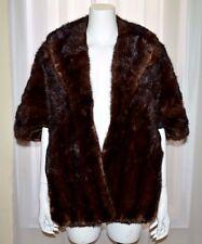 VTG Mink Stole Cape Shawl Dark Brown Chocolate Medium M Pockets BECKMAN FURS