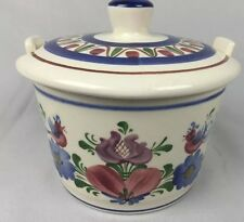 Wechsler Tirolkeramik Sugar Bowl Birds Flowers Tea Austria
