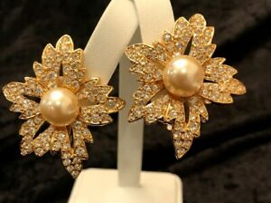 Kenneth Jay Lane First Lady Gold Tone Simulated Diamond & Pearl Clip Earrings
