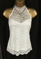 Lipsy Sexy Lace Top Sz 10 Ivory Cream White Halter Sleeveless Party Evening BNWT