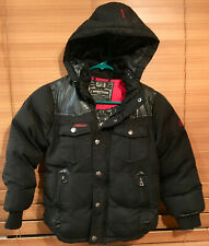 J. Whistler Boys Black Hooded Jacket Coat Insulated Size 6 Faux Leather elbows