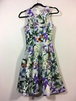 H&M Dress Women Size 2 Floral Pleated Fit and  Flare Knee Length