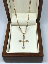 "Womens Petite 9ct Gold gf  Crucifix Cross Chain Necklace18"" FREE GIFT BOX"