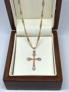 "Womens Petite 9ct Gold gf  Crucifix Cross Chain Necklace18"" FREE GIFT BOX"