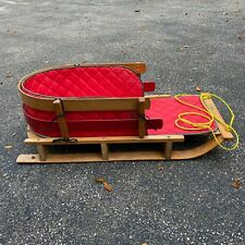 """LL Bean Kids 39"""" Solid Oak Wooden Baby Pull Sled Quilted Red Cushion Child 1994"""